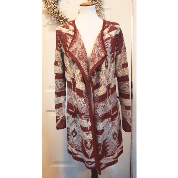e71fb1d3e27 Lucky Brand Sweaters - 🎉Lucky Brand Red   White Aztec Duster Cardigan🎉